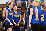 WOODBURY, CT-120818JS09- Seymour's Alyssa Cosciello (34), second from left, shares a laugh with teammates during a time out in their scrimmage against Nonnewaug Saturday at Nonnewaug High School in Woodbury. <br /> Jim Shannon Republican American