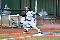 Pulaski Yankees right fielder Frederick Cuevas (27) swings at a pitch during game one of the Appalachian League Championship Series against the Elizabethton Twins at Joe O'Brien Field on September 7, 2017 in Elizabethton, Tennessee. The Twins defeated the Yankees 12-1. (Tony Farlow/Four Seam Images)