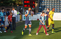 new signing Nathan Tyson of Wycombe Wanderers applauds the support as he enter the pitch during the Friendly match between Wycombe Wanderers and AFC Wimbledon at Adams Park, High Wycombe, England on 25 July 2017. Photo by Kevin Prescod.