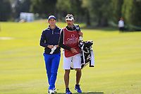 Ricardo Gouveia (POR) and caddy Nick on the 1st hole during Thursday's Round 1 of the 2017 Omega European Masters held at Golf Club Crans-Sur-Sierre, Crans Montana, Switzerland. 7th September 2017.<br /> Picture: Eoin Clarke | Golffile<br /> <br /> <br /> All photos usage must carry mandatory copyright credit (&copy; Golffile | Eoin Clarke)
