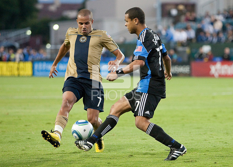 Giovanni (77) kicks the ball against Fred (7). The San Jose Earthquakes defeated the Philadelphia Unioin 1-0 at Buck Shaw Stadium in Santa Clara, California on September 15th, 2010.
