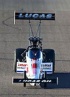 Feb 26, 2016; Chandler, AZ, USA; NHRA top fuel driver Richie Crampton during qualifying for the Carquest Nationals at Wild Horse Pass Motorsports Park. Mandatory Credit: Mark J. Rebilas-