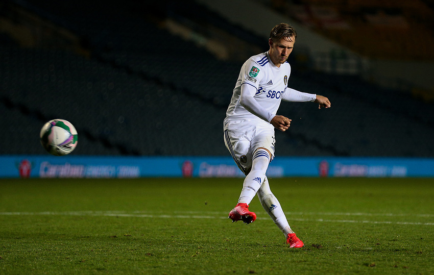 Leeds United's Barry Douglas scores his penalty<br /> <br /> Photographer Alex Dodd/CameraSport<br /> <br /> Carabao Cup Second Round Northern Section - Leeds United v Hull City -  Wednesday 16th September 2020 - Elland Road - Leeds<br />  <br /> World Copyright © 2020 CameraSport. All rights reserved. 43 Linden Ave. Countesthorpe. Leicester. England. LE8 5PG - Tel: +44 (0) 116 277 4147 - admin@camerasport.com - www.camerasport.com