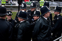 UK. London. 29th January 2010.Police outside the Chilcot Inquiry where Tony Blair  was due to give evidence on the Iraq war..©Andrew Testa for the New York Times