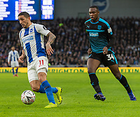 Brighton & Hove Albion's Anthony Knockaert (left) under pressure from West Bromwich Albion's Rekeem Harper (right) <br /> <br /> Photographer David Horton/CameraSport<br /> <br /> Emirates FA Cup Fourth Round - Brighton and Hove Albion v West Bromwich Albion - Saturday 26th January 2019 - The Amex Stadium - Brighton<br />  <br /> World Copyright © 2019 CameraSport. All rights reserved. 43 Linden Ave. Countesthorpe. Leicester. England. LE8 5PG - Tel: +44 (0) 116 277 4147 - admin@camerasport.com - www.camerasport.com