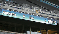 Final Scoreboard. USA defeated Grenada 4-0 during the First Round of the 2009 CONCACAF Gold Cup at Qwest Field in Seattle, Washington on July 4, 2009.