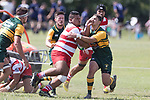 Patric Tulafasa runs in to Jamie King. Counties Manukau Premier Counties Power Club Rugby game between Karaka and Pukekohe, played at the Karaka Sports Park on Saturday March 10th 2018. Pukekohe won the game 31 - 27 after trailing 5 - 20 at halftime.<br /> Photo by Richard Spranger.