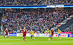 Solna 2014-10-09 Fotboll EM-kval , Sverige - Ryssland :  <br /> Vy &ouml;ver Friends Arena med Rysslands supportrar p&aring; l&auml;ktaren under matchen mellan Sverige och Ryssland<br /> (Photo: Kenta J&ouml;nsson) Keywords:  Sweden Sverige Friends Arena EM Kval EM-kval UEFA Euro European 2016 Qualifier Qualifiers Qualifying Group Grupp G Ryssland Russia supporter fans publik supporters
