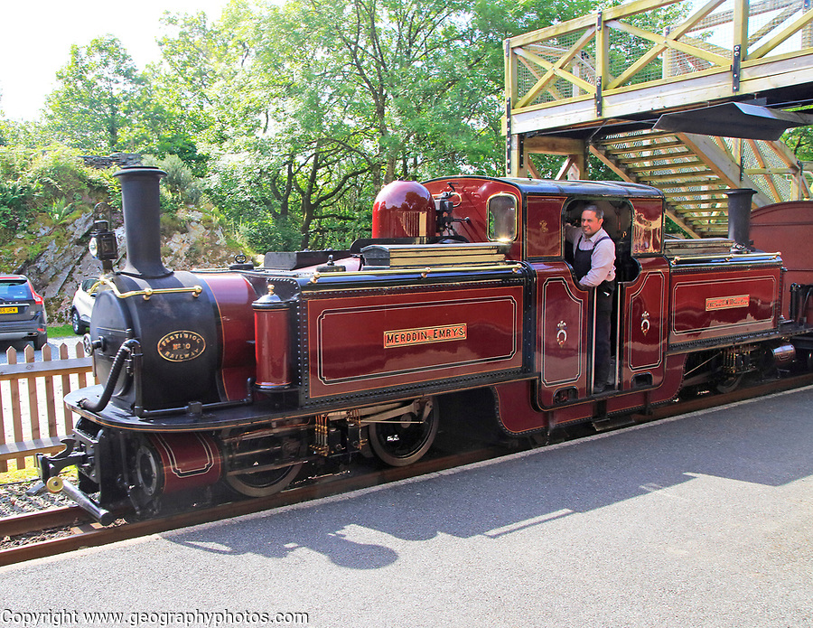 Steam train Ffestiniog railway, Blaenau Ffestiniog station, Gwynedd, north west Wales, UK