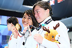 (L-R) <br />  Satomi Suzuki, <br /> Reona Aoki (JPN), <br /> AUGUST 19, 2018 - Swimming : <br /> Women's 100m Breaststroke Medal Ceremony <br /> at Gelora Bung Karno Aquatic Center <br /> during the 2018 Jakarta Palembang Asian Games <br /> in Jakarta, Indonesia. <br /> (Photo by Naoki Nishimura/AFLO SPORT)