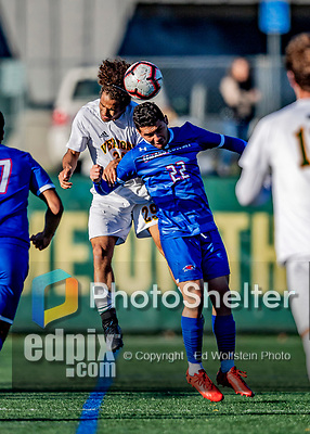 26 October 2019: University of Massachusetts Lowell River Hawk Forward Mario Mora Perez, a Freshman from Liberia, Costa Rica, goes up against University of Vermont Catamount Forward JoJo Moulton-Condiotti, a Freshman from Brooklyn, NY, in second half action at Virtue Field in Burlington, Vermont. The Catamounts rallied to defeat the River Hawks 2-1, propelling the Cats to the America East Division 1 conference playoffs. Mandatory Credit: Ed Wolfstein Photo *** RAW (NEF) Image File Available ***