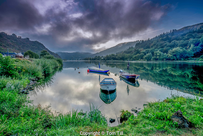 Boats and morning clouds , Moselle River, Rhineland, Germany