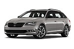 Stock pictures of low aggressive front three quarter view of 2019 Skoda Superb-Combi Sport-Line 5 Door Wagon Low Aggressive