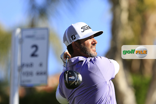Scott Piercy (USA) tees off the 2nd tee during Saturday's Round 3 of the 2017 CareerBuilder Challenge held at PGA West, La Quinta, Palm Springs, California, USA.<br /> 21st January 2017.<br /> Picture: Eoin Clarke | Golffile<br /> <br /> <br /> All photos usage must carry mandatory copyright credit (&copy; Golffile | Eoin Clarke)