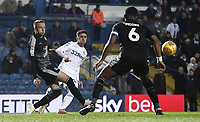 Leeds United's Pablo Hernandez crosses despite the attentions of Reading's Chris Gunter (left) and Liam Moore<br /> <br /> Photographer Rich Linley/CameraSport<br /> <br /> The EFL Sky Bet Championship - Leeds United v Reading - Tuesday 27th November 2018 - Elland Road - Leeds<br /> <br /> World Copyright &copy; 2018 CameraSport. All rights reserved. 43 Linden Ave. Countesthorpe. Leicester. England. LE8 5PG - Tel: +44 (0) 116 277 4147 - admin@camerasport.com - www.camerasport.com