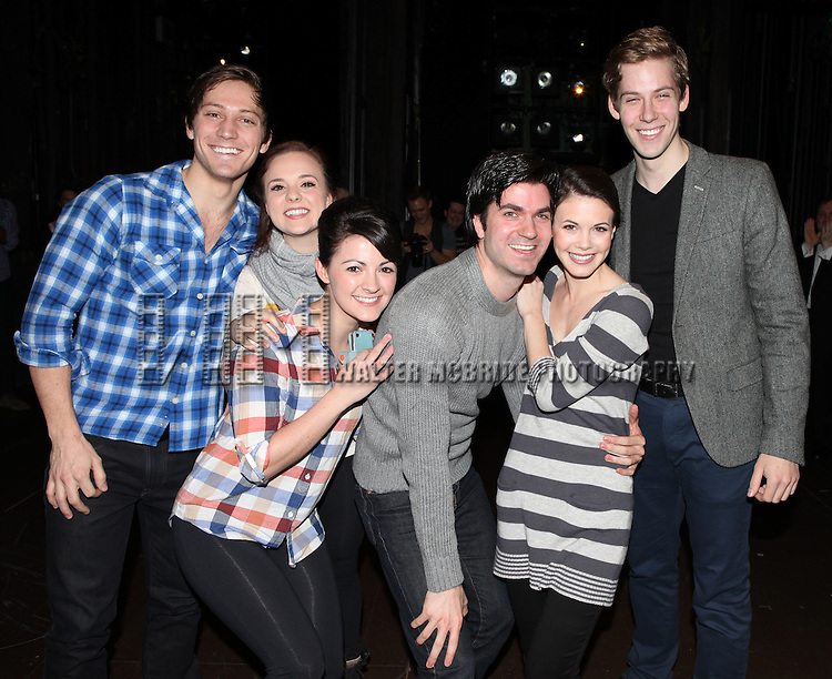 Cast Members making their Broadway debuts attending The Broadway Opening Night Performance Gypsy Robe Ceremony honoring recipient Linda Mugleston for  'Rogers + Hammerstein' s Cinderella' at the Broadway Theatre in New York City on 3/3/2013