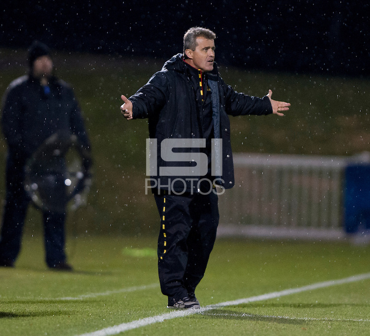 Maryland head coach Sasho Cirovski yells to his team during the ACC tournament semifinals at the Maryland SoccerPlex in Boyds, MD.  Maryland defeated Clemson, 1-0, in overtime.
