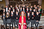 Gaelscoil Aogain NS pupils with Bishop Ray Browne and Principal Tomas O Chonichuir and Ceitilig Ni Bheoglaoic at their Confirmation in St Stephen and John church Castleisland on Tuesday