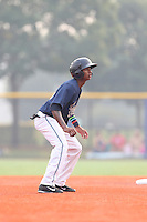 Sergio Alcantara (10) of the Hillsboro Hops leads off of second base during a game against the Boise Hawks at Ron Tonkin Field on August 22, 2015 in Hillsboro, Oregon. Boise defeated Hillsboro, 6-4. (Larry Goren/Four Seam Images)