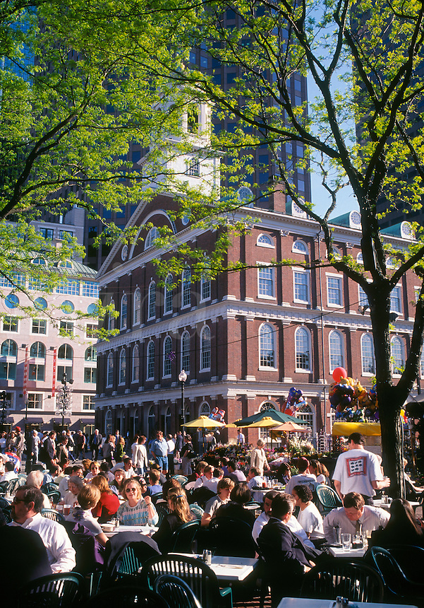 Faneuil Hall with a restaurant crowd Boston MA