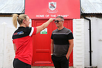 Ramsgate Manager, Matt Longhurst, undergoes a temperature check on his arrival at the ground during Ramsgate vs Folkestone Invicta, Friendly Match Football at Southwood Stadium on 1st August 2020