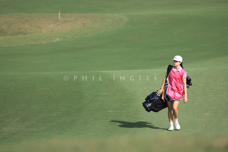 Leigh Ferrell during the first round of the Fatima Bint Mubarak Ladies Open played at Saadiyat Beach Golf Club, Abu Dhabi, UAE. 10/01/2019<br /> Picture: Golffile   Phil Inglis<br /> <br /> All photo usage must carry mandatory copyright credit (© Golffile   Phil Inglis)