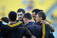 Cheifs players including Stephen Donald and Tana Umaga huddle before the match. Super 15 rugby match - Hurricanes v Chiefs at Westpac Stadium, Wellington, New Zealand on Saturday, 12 March 2011. Photo: Dave Lintott / lintottphoto.co.nz
