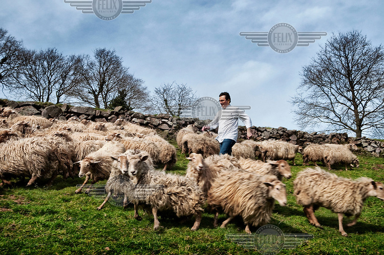 Chef Andoni Luis Aduriz who runs Mugaritz restaurant in Guipuzcoa, on a farm surrounded by sheep.