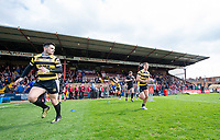 Picture by Allan McKenzie/SWpix.com - 22/04/2018 - Rugby League - Ladbrokes Challenge Cup - York City Knight v Catalans Dragons - Bootham Crescent, York, England - York City Knights come out to warm up.