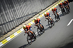 Bahrain-Merida in action during Stage 2 of the 2019 Tour de France a Team Time Trial running 27.6km from Bruxelles Palais Royal to Brussel Atomium, Belgium. 7th July 2019.<br /> Picture: ASO/Pauline Ballet | Cyclefile<br /> All photos usage must carry mandatory copyright credit (© Cyclefile | ASO/Pauline Ballet)