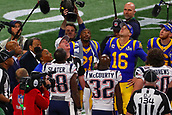 3rd February 2019, Atlanta Georgia, USA; NFL Superbowl LIII, New England Patriots versus Los Angeles Rams;  Rep. John Lewis (D-Ga.), former U.S. ambassador to the United Nations Andrew Young and Rev. Bernice King look up at the coin toss prior to Super Bowl LIII