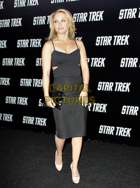 "HAYDEN PANETTIERE.The Paramount Pictures L.A. Premiere of ""Star Trek"" held at The Grauman's Chinese Theatre in Hollywood, California, USA. .April 30th, 2009.full length black dress peach beige peep toe shoes christian louboutin clutch bag .CAP/DVS.©Debbie VanStory/Capital Pictures."