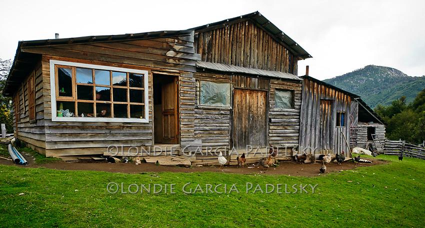 Beni's homestead and organic farm, a  remote area next to the Futaleufu River. Rio Futaleufu, Patagonia, Chile, South America