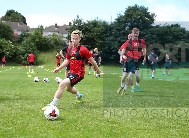 Mark Duffy of Sheffield Utd during the pre season training session at the Shirecliffe ground, Sheffield. Picture date: June 27, 2016. Pic Simon Bellis/Sportimage