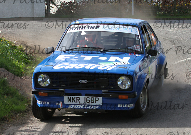 Roger Kilty - Lynette Banks in a Ford Escort RS at Junction 13 on Special Stage 11 Bulls Brook on the Discover Northern Ireland Circuit of Ireland Rally which was a constituent round of  the FIA European Rally Championship, the FIA Junior European Rally Championship, the Clonakilty Irish Tarmac Rally Championship, and the MSA ANICC Northern Ireland Stage Rally Championships which took place on 18.4.14 and 19.4.14 and was based in Belfast.
