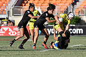 3rd February 2019, Spotless Stadium, Sydney, Australia; HSBC Sydney Rugby Sevens; New Zealand versus Australia; Womens Final; Sarah Hirini of New Zealand tackles Sharni Williams of Australia