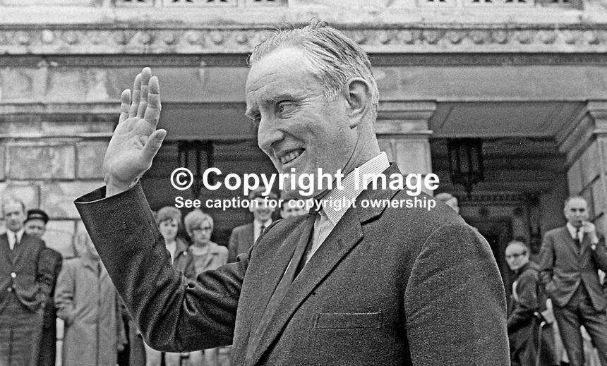 Major James Chichester-Clark, waves to supporters after being chosen as leader of the Ulster Unionist Party in May 1969. As party leader he automatically became Prime Minister in the N Ireland Parliament at Stormont. Created life peer in July 1971 he took the title Lord Moyola. He died on 17 May 2002 at the age of 79; he was the last surviving Prime Minister of Northern Ireland. 196905000185<br />