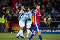 Manchester City's Ilkay Gundogan celebrates with team mates after scoring his side's fourth goal <br /> <br /> Photographer Craig Mercer/CameraSport<br /> <br /> UEFA Champions League Round of 16 First Leg - Basel v Manchester City - Tuesday 13th February 2018 - St Jakob-Park - Basel<br />  <br /> World Copyright &copy; 2018 CameraSport. All rights reserved. 43 Linden Ave. Countesthorpe. Leicester. England. LE8 5PG - Tel: +44 (0) 116 277 4147 - admin@camerasport.com - www.camerasport.com
