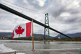 CANADA, Vancouver, British Columbia, driving under the Lion's Gate Bridge on the Organic Ocean Shrimp boat