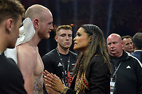 George Groves with Rasheda Ali after defeat by Callum Smith during a Boxing Show at King Abdullah Sports City on 28th September 2018