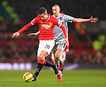 Robin van Persie of Manchester United escapes David Jones of Burnley - Manchester United vs. Burnley - Barclay's Premier League - Old Trafford - Manchester - 11/02/2015 Pic Philip Oldham/Sportimage