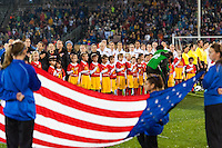 United States (USA) during the playing of the national anthem. The United States (USA) and Germany (GER) played to a 2-2 tie during an international friendly at Rentschler Field in East Hartford, CT, on October 23, 2012.