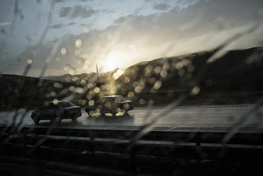 Rain at the buses window during the ride from Isfahan to Tehran.