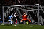 Grimsby Town 1 Lincoln City 3, 28/12/2014. Blundell Park, Football Conference. Grimsby's Daniel Parslow has a shot saved by Lincoln City's Paul Farman.  Photo by Paul Thompson.