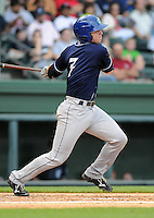 Catcher Ryan Casteel (7) of the Asheville Tourists, a Colorado Rockies affiliate, in a game against the Greenville Drive on May 14, 2012, at Fluor Field at the West End in Greenville, South Carolina. Asheville won, 11-6. (Tom Priddy/Four Seam Images)