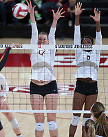STANFORD, CA - November 15, 2017: Merete Lutz, Tami Alade at Maples Pavilion. The Stanford Cardinal defeated USC 3-0 to claim the Pac-12 conference title.