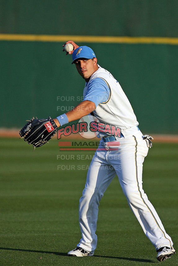 Myrtle Beach Pelicans outfielder Jake Skole #7 warming up in the outfield before a game against the Winston-Salem Dash at Tickerreturn.com Field at Pelicans Ballpark on April 16, 2012 in Myrtle Beach, South Carolina. Myrtle Beach defeated Winston Salem by the score of 2-0. (Robert Gurganus/Four Seam Images)
