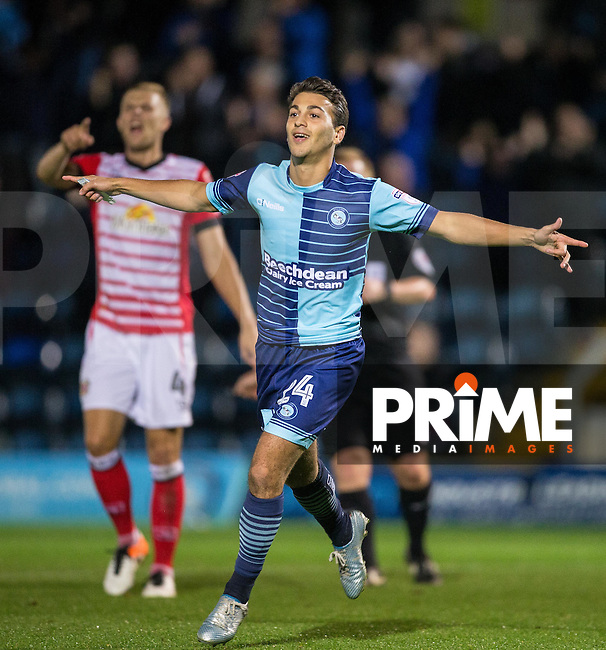 Scott Kashket of Wycombe Wanderers celebrates scoring his first goal for the club during the Sky Bet League 2 match between Wycombe Wanderers and Crewe Alexandra at Adams Park, High Wycombe, England on 27 September 2016. Photo by Andy Rowland.
