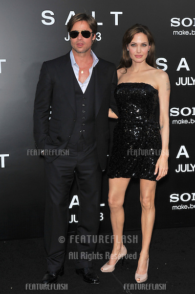"Angelina Jolie & Brad Pitt at the premiere of her new movie ""Salt"" at Grauman's Chinese Theatre, Hollywood..July 19, 2010  Los Angeles, CA.Picture: Paul Smith / Featureflash"
