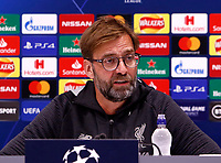 26th November 2019; Anfield, Liverpool, Merseyside, England; UEFA Champions League, Liverpool versus Napoli, Press Conferences; Liverpool manager Jurgen Klopp speaking to the media during today's press conference at Anfield ahead of tomorrow's Champions League group match against SSC Napoli - Editorial Use
